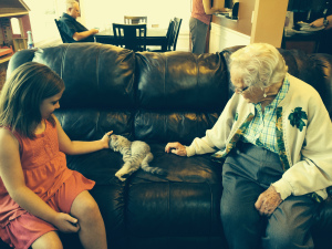 My 94 year old Grandma was SO excited to meet our new kitty!